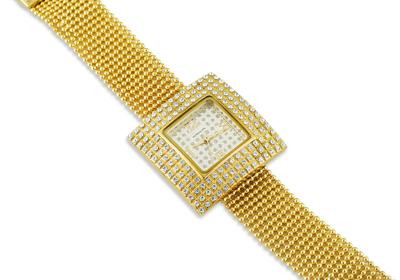 Ladies Gold Tone Stainless Steel CZ Fashion Wrist Watch