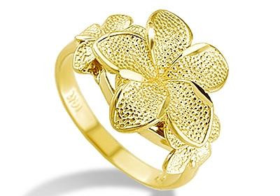 New Women S 14k Solid Yellow Gold Plumeria Flower Ring