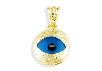 14k yellow gold blue evil eye good luck charm pendant lucky channel mozeypictures Images