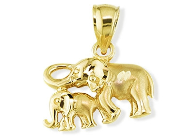 Solid 14k yellow gold mother baby elephant pendant animal pendants add aloadofball Gallery