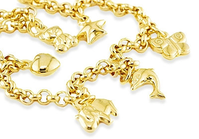 14k Gold Animals Star Heart Erfly Charm Bracelet