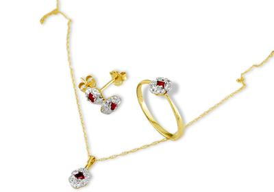 14k Yellow Gold Pink Ruby Ring Earrings Necklace Set