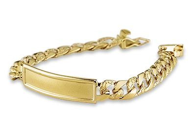 Kids 14k Solid Gold Cuban Chain Id Engraveable Bracelet