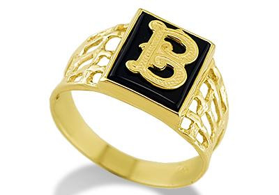 B Letter In Gold Ring Featuring this 14k Yellow Gold