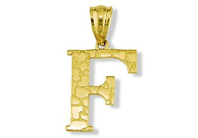 Solid 14k yellow gold letter f initial nugget pendant aloadofball Choice Image