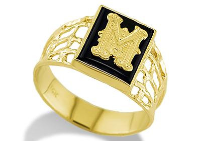 M Letter In Ring 14k Yellow Gold Ring