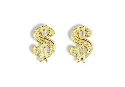 14k Yellow Gold Solid Money Dollar Sign Stud Earrings