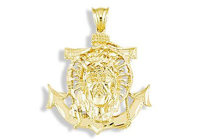 Mens 14k yellow gold jesus christ anchor sacred pendant mens overwhelming brilliance aloadofball Gallery