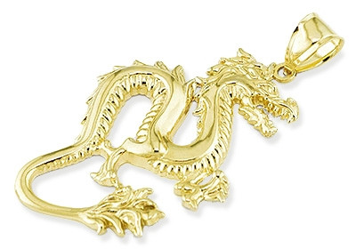 Mens 14k yellow gold solid dragon detailed pendant mozeypictures Choice Image