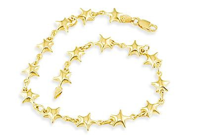 Las Solid 14k Yellow Gold Star Charm Links Bracelet