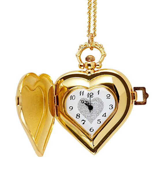New ladies gold tone heart locket necklace pocket watch aloadofball Choice Image