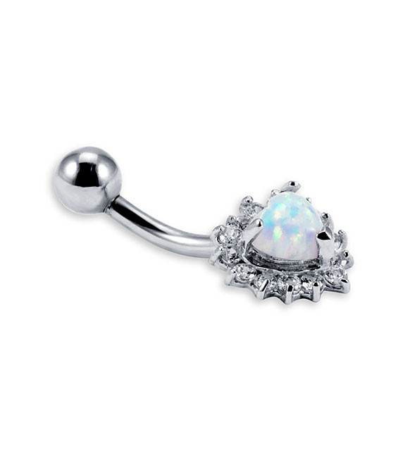 New 14k White Gold Opal Heart CZ Belly Button Ring Belly Button