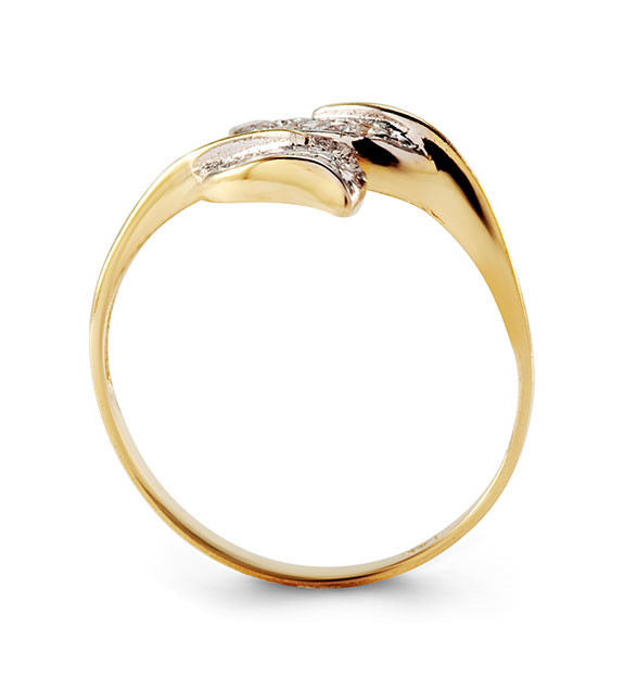 New Round Cut CZ 14k Solid Yellow White Gold Leaf Ring