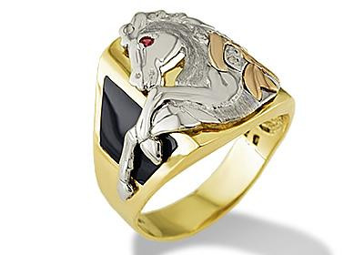 14k Tri Color Gold Horse Mustang Stallion CZ Onyx Ring Mens Rings