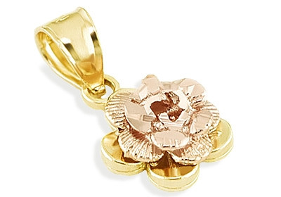 14k yellow rose gold diamond cut flower charm pendant flower display mozeypictures Images
