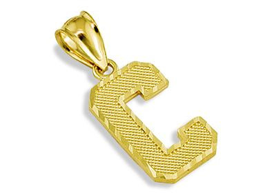 here we feature this 14k yellow gold letter c initial charm pendant
