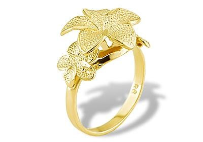 New womens 14k solid yellow gold plumeria flower ring flower overflow with stylish charm and beauty from this 14k solid yellow gold three plumeria flower designer ring mightylinksfo