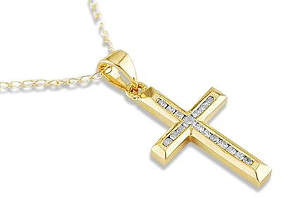 14k yellow gold 011ct diamond channel cross necklace mozeypictures Choice Image