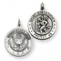 925 Silver United States Army Saint Christopher Pendant