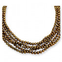 925 Silver Solid White Champagne Golden Pearls Necklace