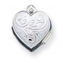 925 Sterling Silver Scroll Heart Detailed Photo Locket