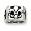 Mens 925 Sterling Silver Fleur de lis Wide Fashion Ring