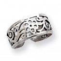 925 Sterling Silver Antiqued Scroll Flower Toe Ring