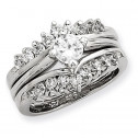 925 Sterling Silver White Round CZ Wedding Ring Set