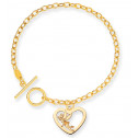 14K Solid Gold Tinkerbell Toggle Closure Heart Bracelet