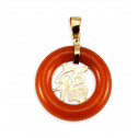 14k Yellow Gold Red Agate Carved Good Luck Pendant