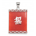 925 Silver Natural Red Agate Carved Chinese Pendant