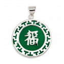 925 Sterling Silver Round Green Jade Good Luck Pendant