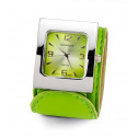 Ladies Silver Tone Green Leather Band Wristwatch