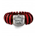 Ladies Red Wood Bead Silver Tone Quartz Bracelet Watch