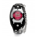 Mens Burgundy Dial Silver Tone Skull Crossbones Watch