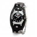 Mens Skull Face Black Band Silver Tone Studded Watch