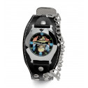 Mens Black Silver Tone Studded Multicolor Face Watch