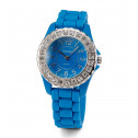 Womens Blue Dial Band White CZ Stone Quartz Wrist Watch