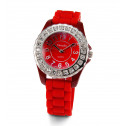 Womens Red Dial Band White CZ Stone Quartz Wrist Watch