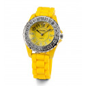Womens Brilliant New Yellow White CZ Stone Wrist Watch