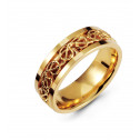 14K Yellow Gold Wedding Band Wire Weave Modern Ring
