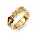 14k Yellow Gold Wedding Band Scrolled Polished Ring