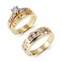 14k Three Color Gold CZ Three Arrows Engagement Trio