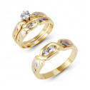 14k Yellow White Rose Gold Arrows Round CZ Wedding Trio
