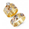 14k Three Color Gold Leaves Round White CZ Wedding Trio