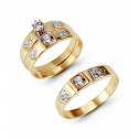 14k Pure Three Tone Gold Bezel CZ Stone Engagement Trio