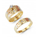 14k Tri Tone Gold Cubic Zirconia Wedding Rings Trio Set