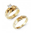14k Yellow Rose Gold Ribbed X CZ Stone Wedding Trio Set