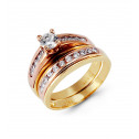 14k Yellow Rose Gold Round CZ Channel Wedding Ring Set