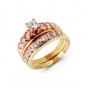 14k Two Tone Gold Round Cubic Zirconia Wedding Ring Set